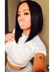[Stock Lace Front] Angled Bob Cut Center Part Silky Straight Human Hair Lace Front Wig