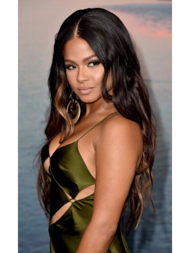 Christina Milian Inspired Gorgeous Long Wavy Full Lace Human Hair Wig - cew1043