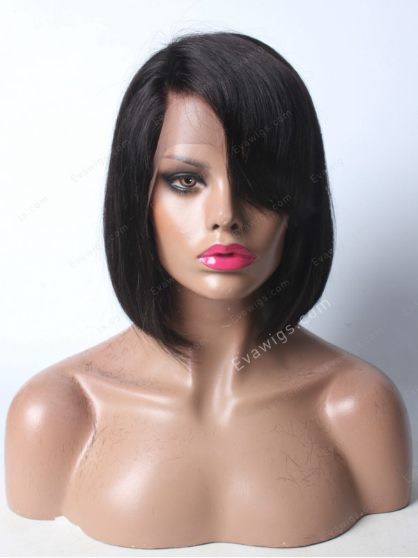 Cute Side Bangs Bob Lace Front Human Hair Wig Lace Front