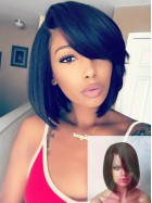 Cute Side Bangs Bob Lace Front Human Hair Wig