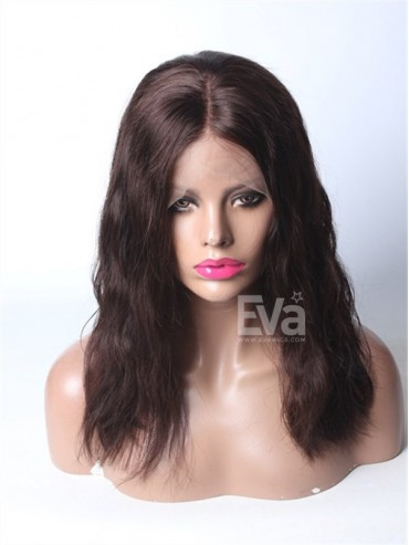 "Darkest Brown 16"" Center Parted Lob Virgin Human Hair Lace Front Wig"