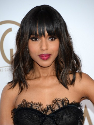 Kerry Washington Graceful Wavy Custom Full Lace Human Hair Wig with Bangs
