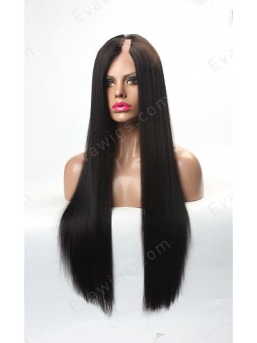 Custom Long Straight Yaki U-part Full Lace Human Hair Wig