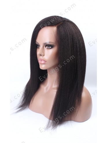 Stocked Kinky Straight Long Straight Full Lace Human Hair Wig