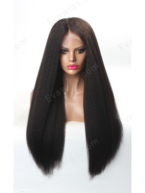 Custom Kinky Straight Natural Full Lace Human Hair Wig