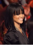 Rihanna Inspired Silky Straight Custom Full Lace Human Hair Bob Wig with Bangs