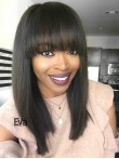 Stocked Short Bob Virgin Human Hair Full Lace Wig with Full Blunt Bangs