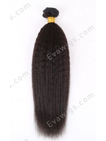 Kinky Straight Natural Black Indian Remy Human Hair Weft