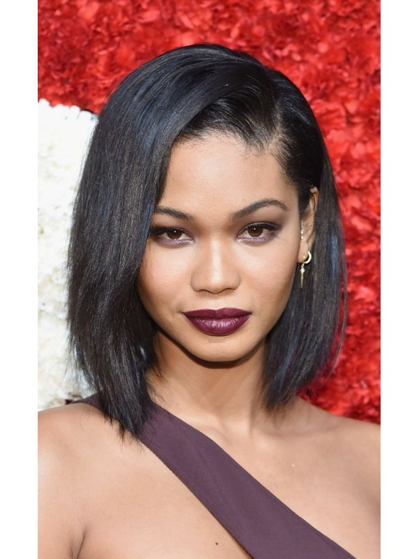 ... Yaki Straight Short Bob Chanel Iman Inspired Human Hair Full Lace Wig
