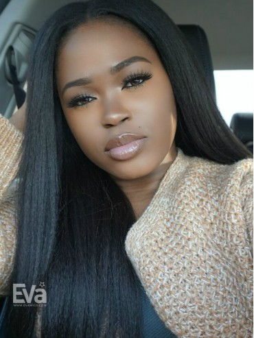 EvaWigs Best Seller Kinky Straight Full Lace Human Hair U-part Wig