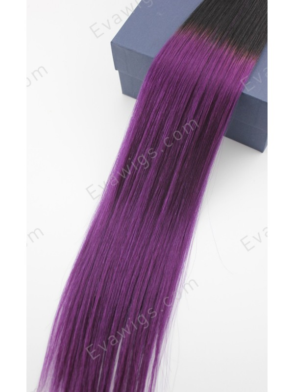 Purple Human Hair Extensions Clip In 17