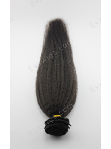 Kinky Straight High Quality Indian Remy Human Hair Clip in Hair Extension
