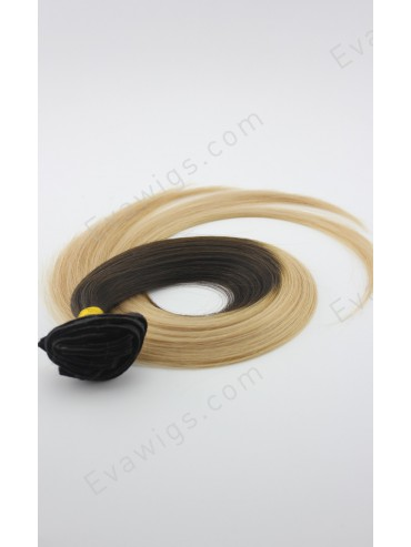 #3 Medium Dark Brown T #12 Light Golden Brown Indian Virgin Human Hair Clip in Hair Extension