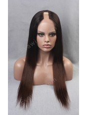 Ombre Color Silky Straight U-part Custom Full Lace Human Hair Wig