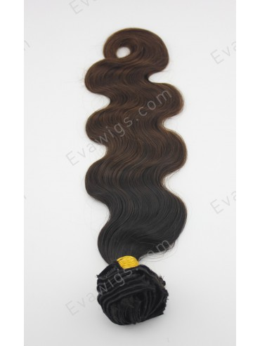 "20"" 220 Grams #1B T #33 Body Wavy Clip in Hair Extension"