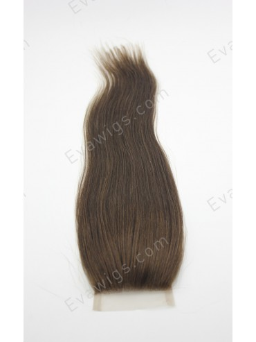 Yaki Straight Brown Remy Human Hair Lace Closure