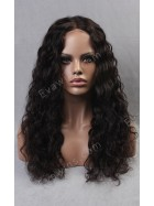 20 Inch Natural Black 100% Indian Virgin Human Hair Glueless Full Lace Wig