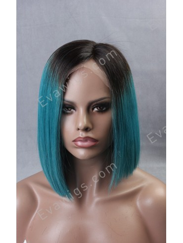 Teal Ombre Full Lace Virgin Human Hair Wig