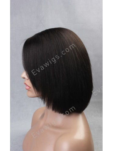 Short Layered Cut Bob with Side Bangs and Silk Top Cap Construction