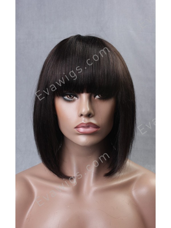 Inverted Cut Bob With Full Fringe Bangs Virgin Human Hair Full Lace Wig In Stock Full Lace