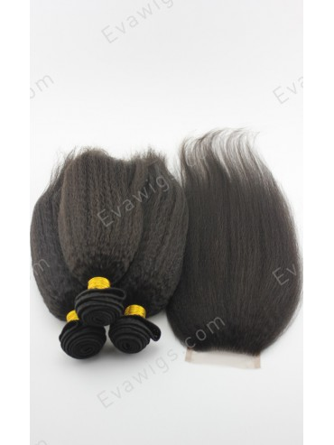 Kinky Straight Virgin Human Hair Weaves 3 Bundles and One Lace Closure