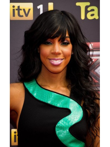 Kelly Inspired Long Wavy Full Lace Wig with Side Swept Bangs
