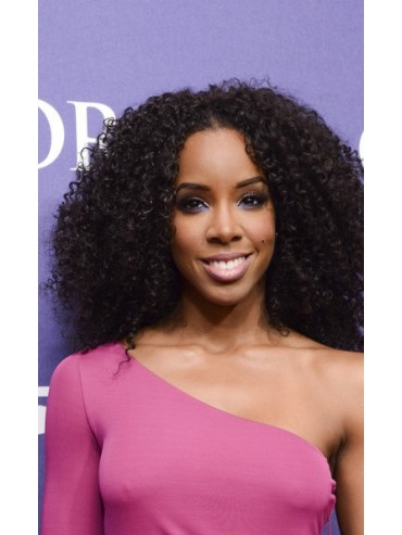Kinky Curly Center Parted Indian Remy Lace Front Wig