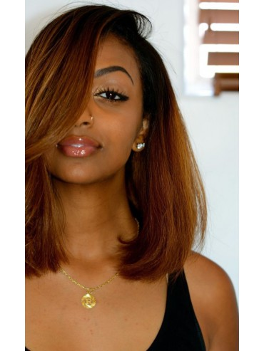 Shoulder Length Lob with Ombre Color Custom Human Hair Full Lace Wig