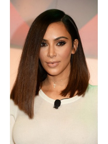 Kim K Inspired Asymmetrical Cut Ombre Color Bob Human Hair Full Lace Wig