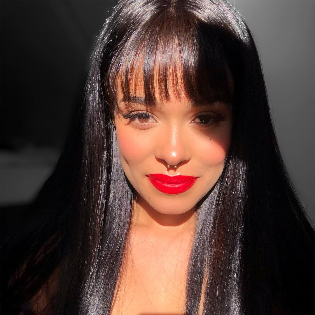 See Through Bangs Silk Straight Lace Front Human Hair Wig