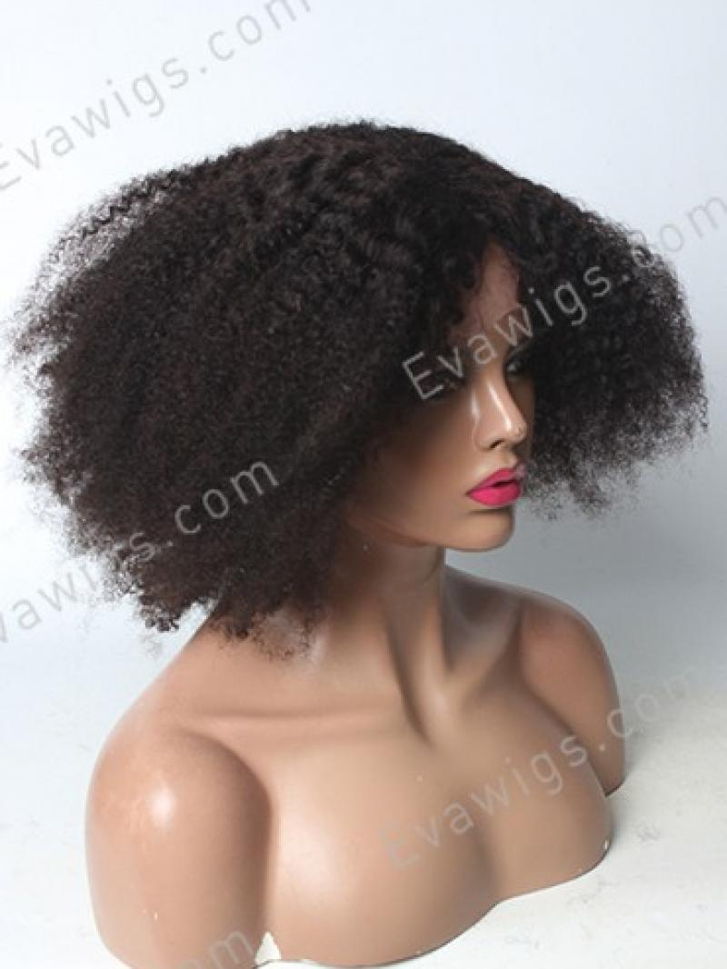 12 Quot Short Afro Kinky Curly Human Hair Full Lace Wig