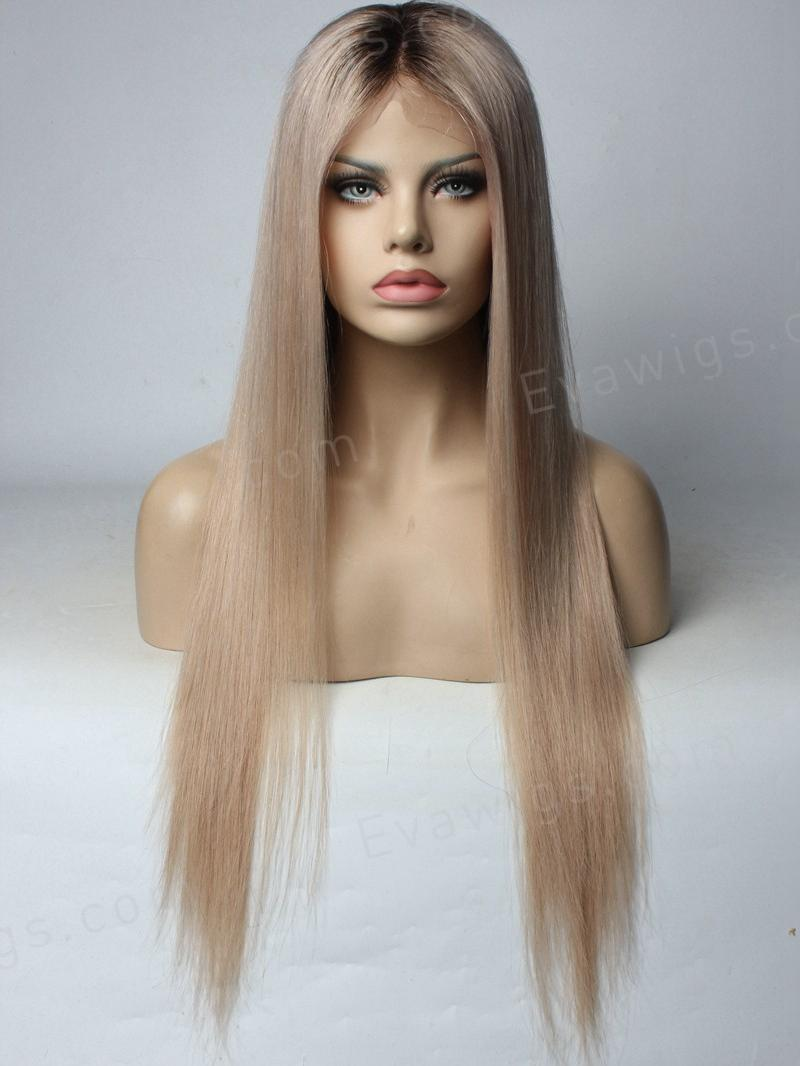 Custom Color  Ash Blonde Full Lace Human Hair Wig - Home - EvaWigs cb10b831ed9f