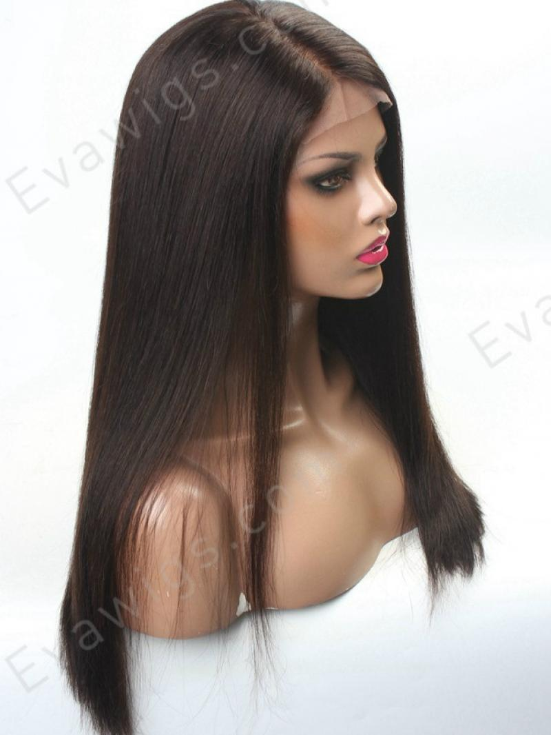 Custom Hair Part Line Lace Front Human Hair Yaki Straight Wig