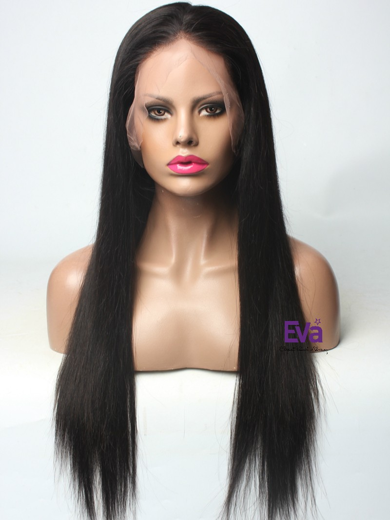 "22"" 150% Hair Density Natural Black SK016 Silky Straight Full Lace Human Hair Wig"
