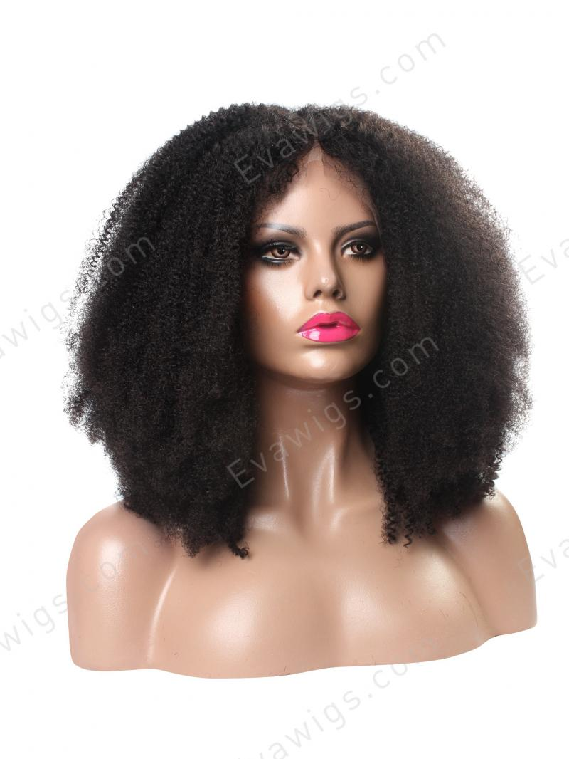 Natural Afro Kinky Curly Remy / Virgin Human Hair Full Lace Wig in 12-22 inches