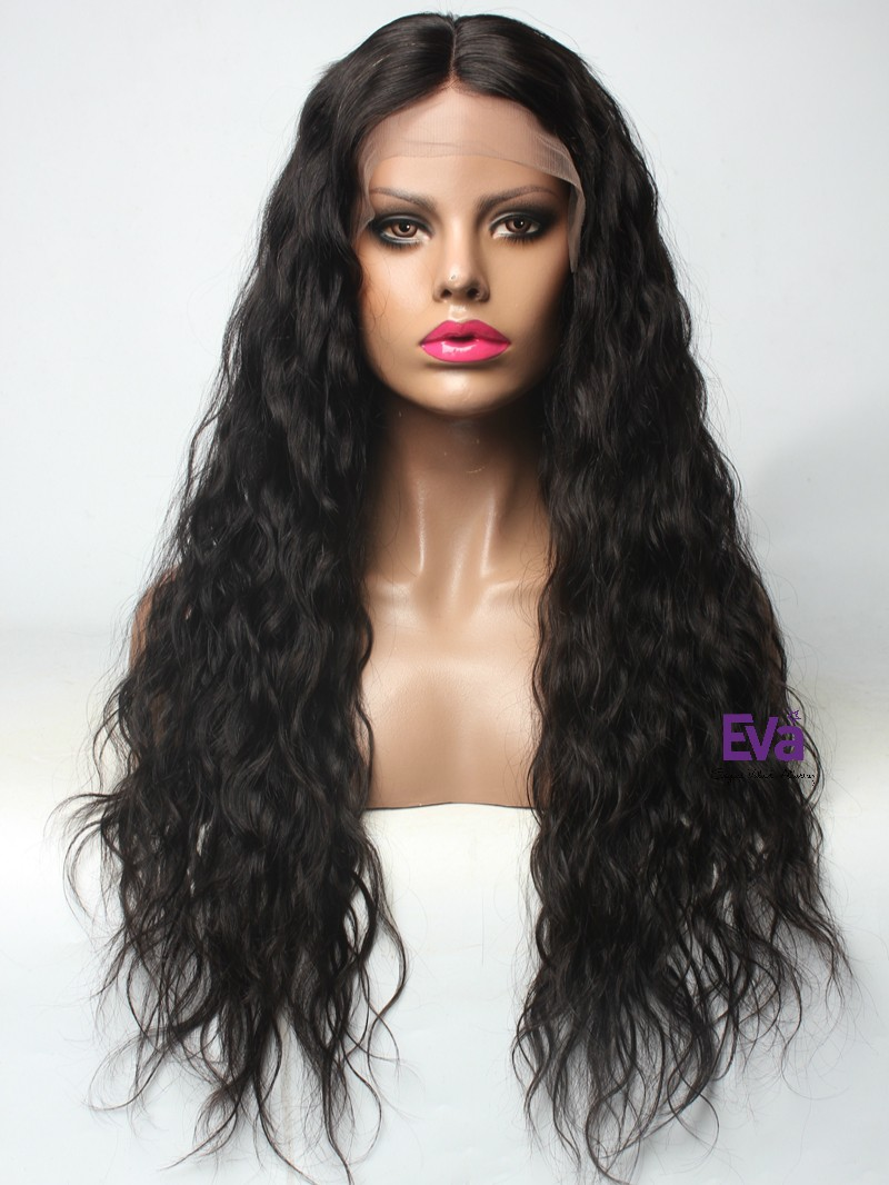 "No.1 Best Seller - 24"" 150% Hair Density Natural Black LF017 Loose Wave Lace Front Human Hair Wig"