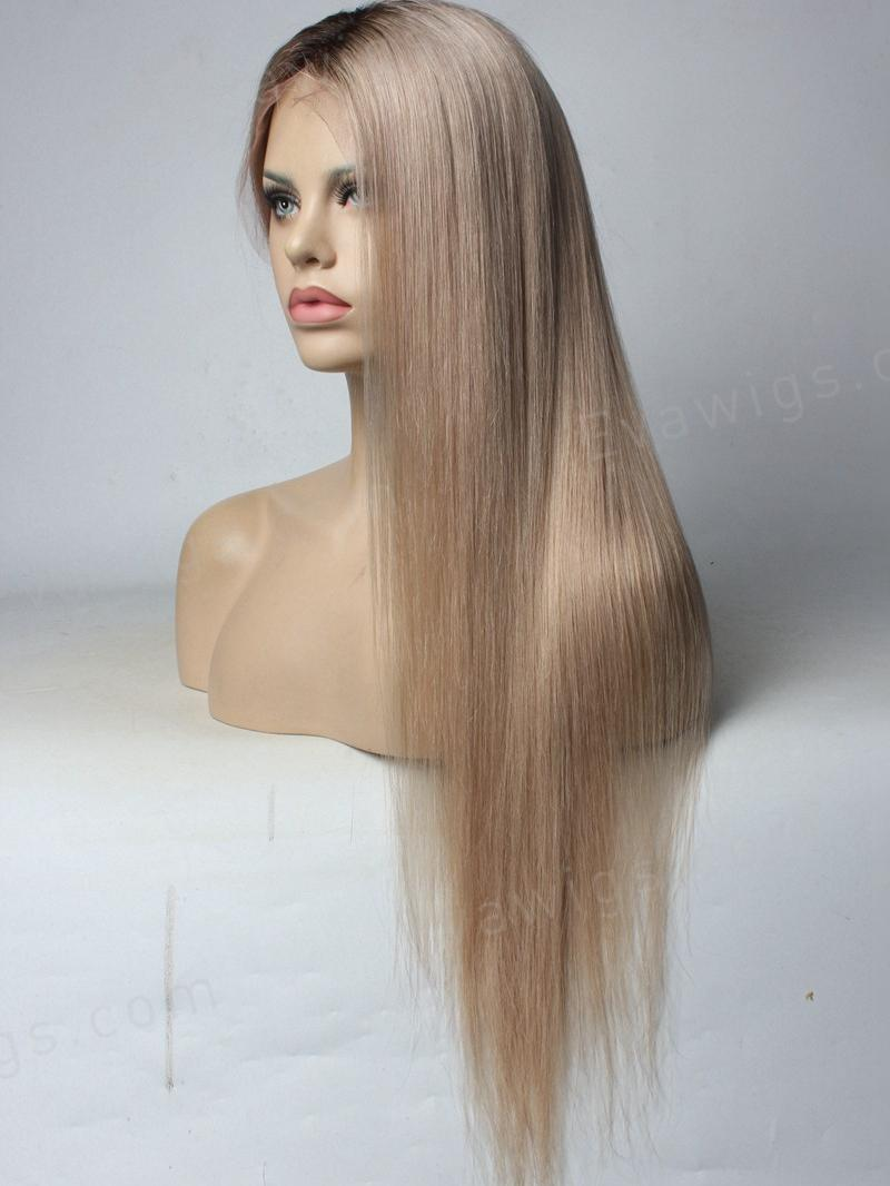 Custom Color Ash Blonde Full Lace Human Hair Wig Home