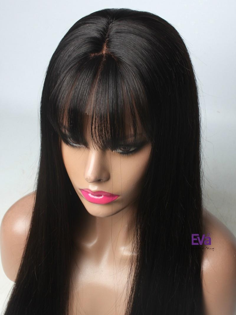 Yuba See Through Bangs Silk Straight Lace Front Human Hair