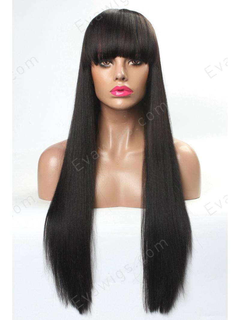 Stocked Hot Seller Silky Yaki Long Straight Full Lace Human Hair Wig With Bangs
