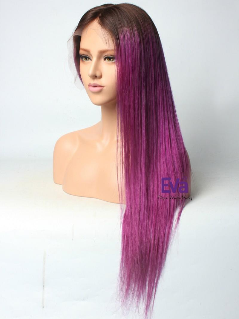Purple Hair With Darkest Brown Root Color Custom Full Lace