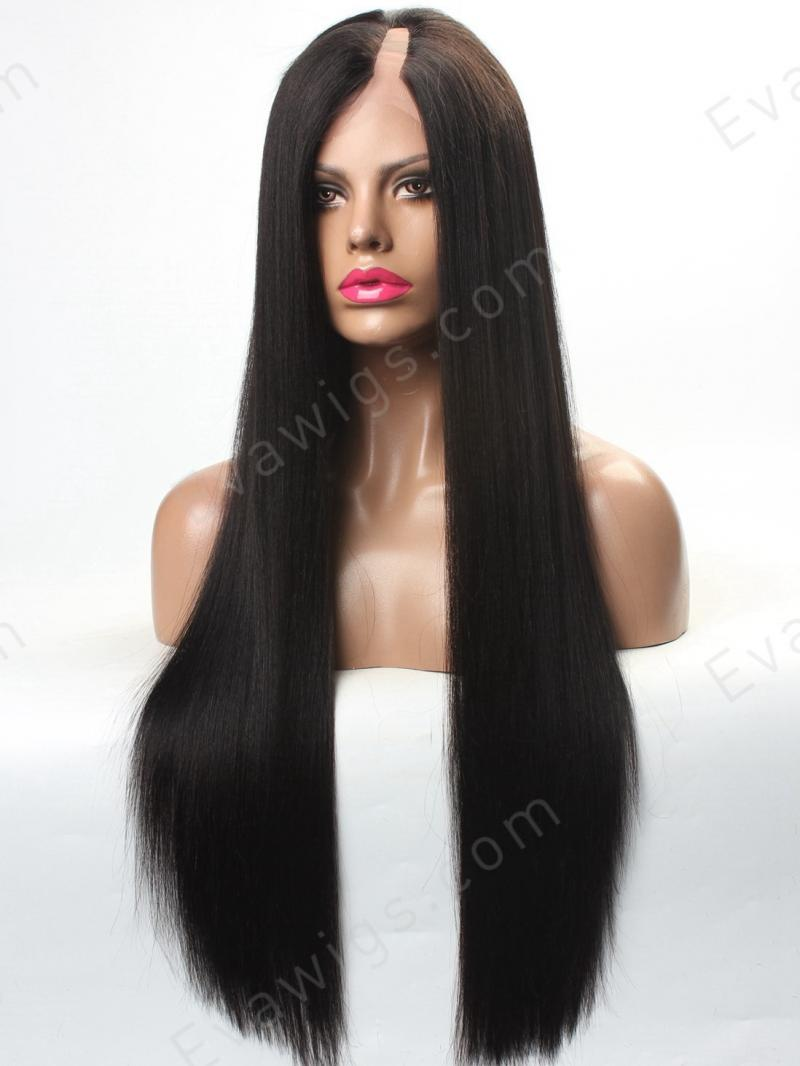 Custom Long Straight Silky/Yaki U-part Full Lace Human ...