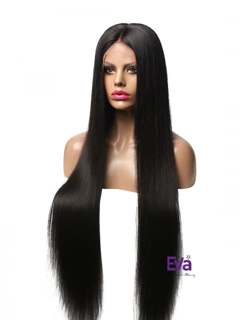 Kim K Inspired Long Straight Full Lace Human Hair Wig W Center Part Ces987