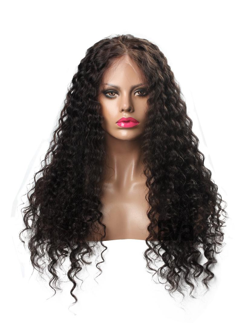 New Curly Glueless Full Lace Virgin Human Hair Wig Free