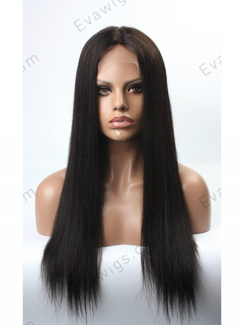 [Stock Lace Front] Long Straight 100% Indian Remy Human Hair Silky Straight Lace Front Wig