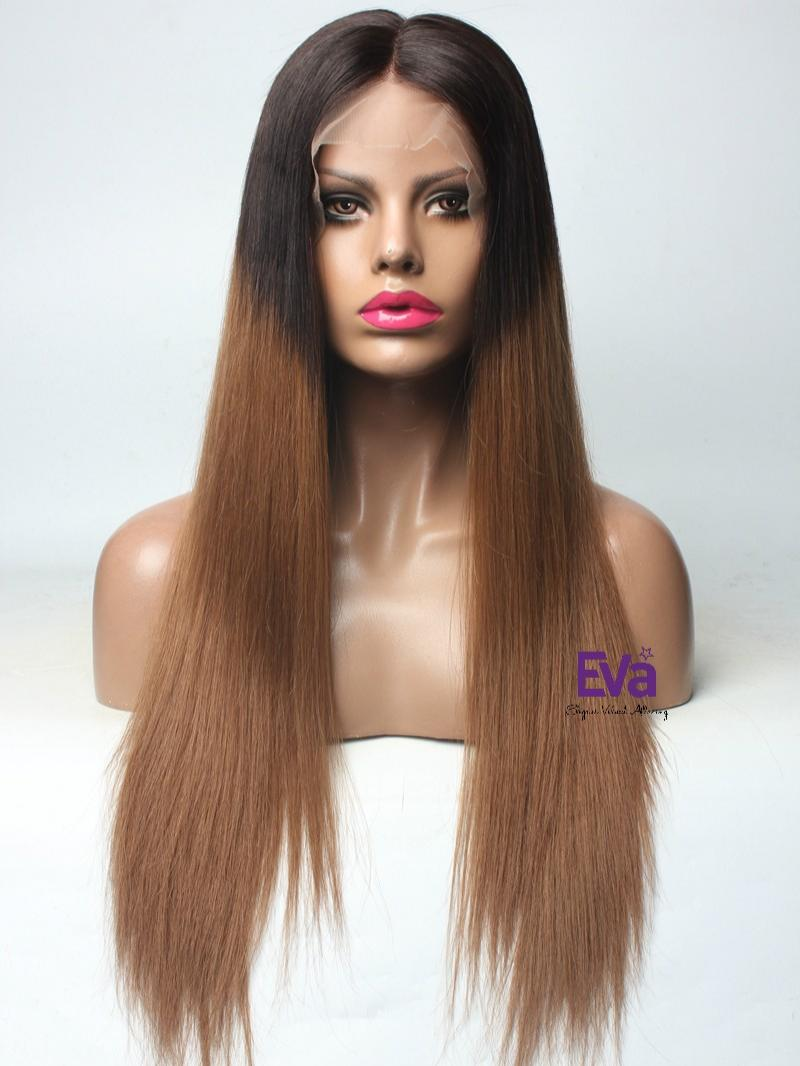"Ready to Ship Virgin Human Hair 24"" Long Silky Straight Full Lace Wig"