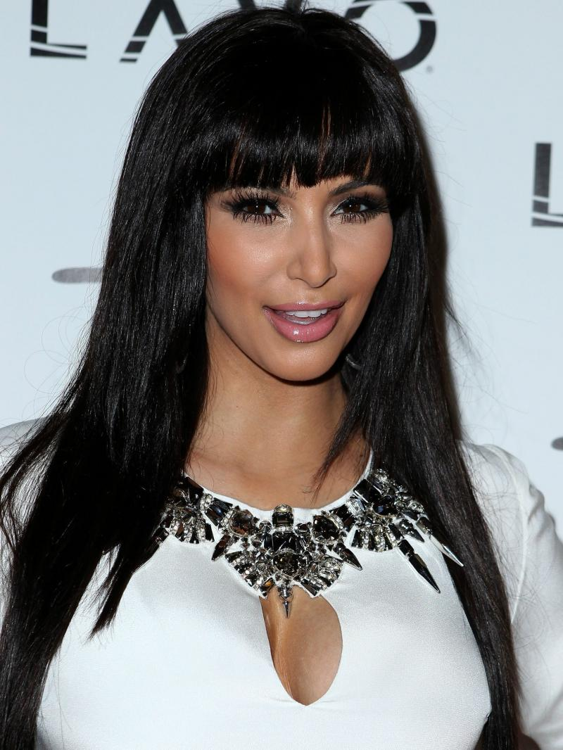Kim Kardashian Silky Straight Custom Full Lace Human Hair Wig with Bangs