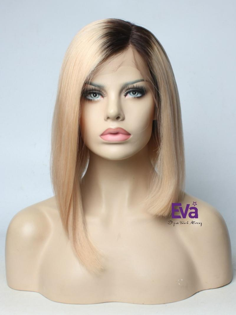 "Ready to Ship Final Price $239 Pre-plucked Hairline 4"" Deep Parting Lace Front Virgin Human Hair Bob Wig"