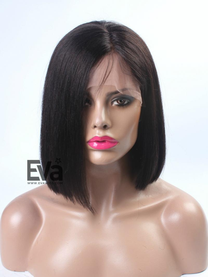 Stock Lace Front Sleek Straight Bob Cut Lace Front Human Hair Wig - Bob hairstyle wigs